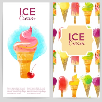Sfondi acquerelli per la progettazione di volantini gelato