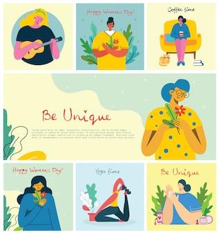Sfondi di attività femminili. donne che fanno giardinaggio, cucina, lettura e concetto di lavoro nello stile piatto moderno