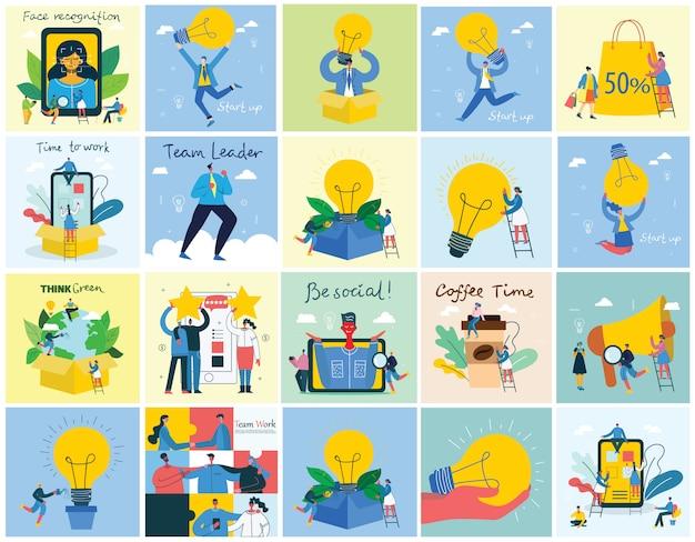 Sfondi di illustrazione di concetto di start up e big idea in stile piatto in stile piatto