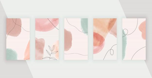Sfondi di social media con forme, linee e foglie di pittura a mano astratta artistica a mano libera.