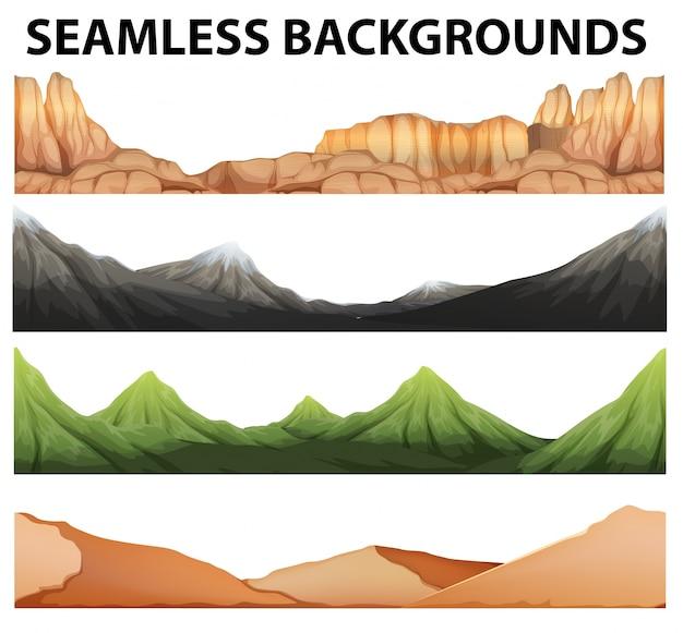 Sfondi senza soluzione di continuità con diversi tipi di montagne