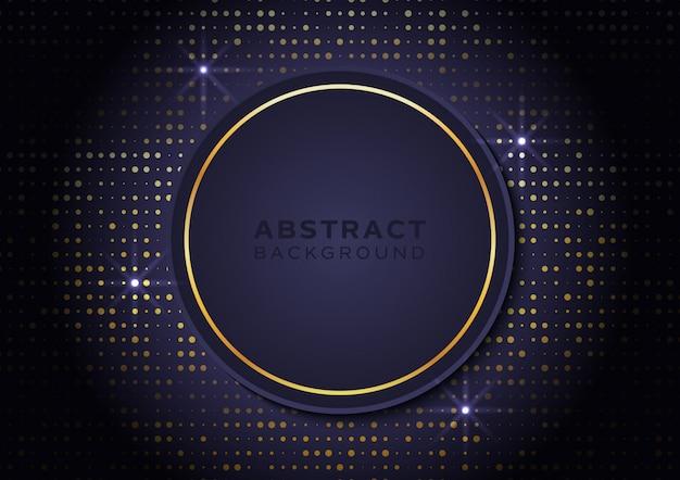 Sfondo a forma di cerchio con glitter oro e luce stellare