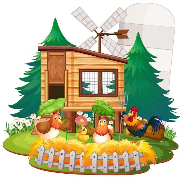 Sfondo a tema fattoria con animali da fattoria