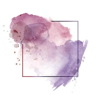 Sfondo acquerello astratto viola scuro chiaro con cornice poligonale