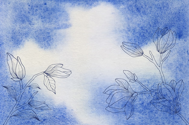 Sfondo acquerello blu con fiore disegnato a mano