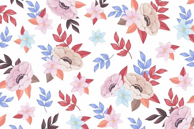 Sfondo acquerello con fiori colorati