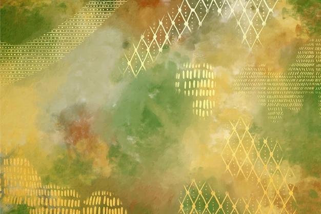 Sfondo acquerello con foglia d'oro