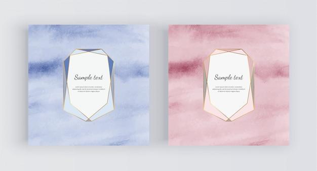 Sfondo acquerello oro blu e rosa con cornice poligonale.