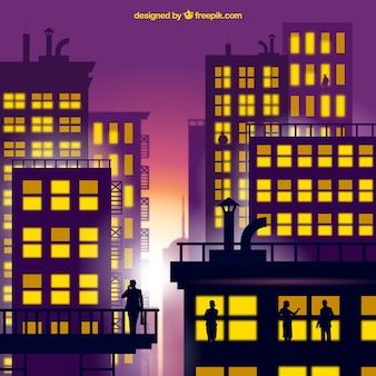 Sfondo alba città con sagome