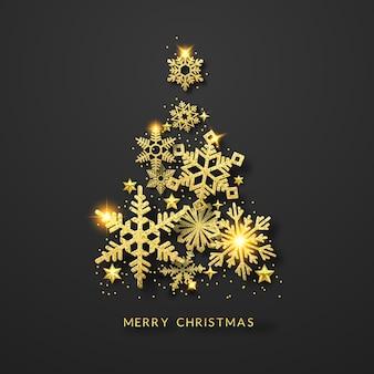 Sfondo albero di natale con brillanti fiocchi di neve d'oro, stelle e palle