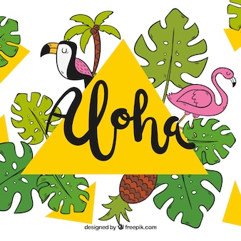 Sfondo aloha con uccelli e foglie di palma disegnate a mano