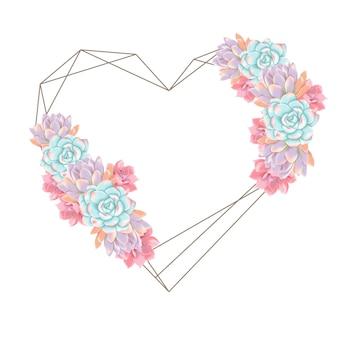 Sfondo amore succulente ghirlanda
