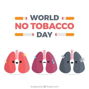 Sfondo anti-fumo giorno con diversi polmoni