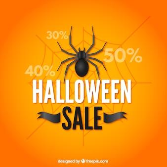 Sfondo arancione di vendita halloween con ragno