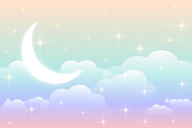 Sfondo arcobaleno cielo con design luna incandescente