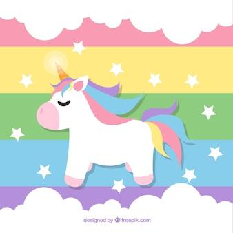 Sfondo arcobaleno con unicorno