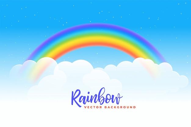 Sfondo arcobaleno e nuvole