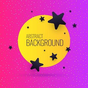Sfondo astratto brillante con oggetti, linee e tondo in stile minimalista. illustrazione con una cornice sfumata per il testo