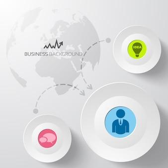 Sfondo astratto business con cerchi e mappa del mondo
