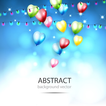 Sfondo astratto con brillanti palloncini colorati. con gli elementi di bokeh. illustrazione vettoriale