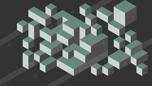 Sfondo astratto con elementi isometrici di un cubo. con colori retrò o vintage.