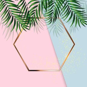 Sfondo astratto con foglie di palma e telaio. illustrazione