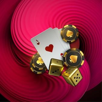 Sfondo astratto con forma liquida schiacciata rosa 3d. carte da gioco e fiches da poker volano al casinò. concetto delle roulette del casinò su fondo bianco.