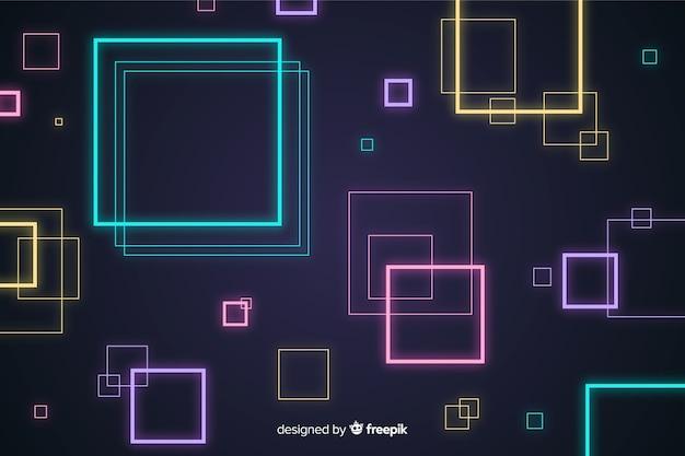 Sfondo astratto con forme al neon geometriche
