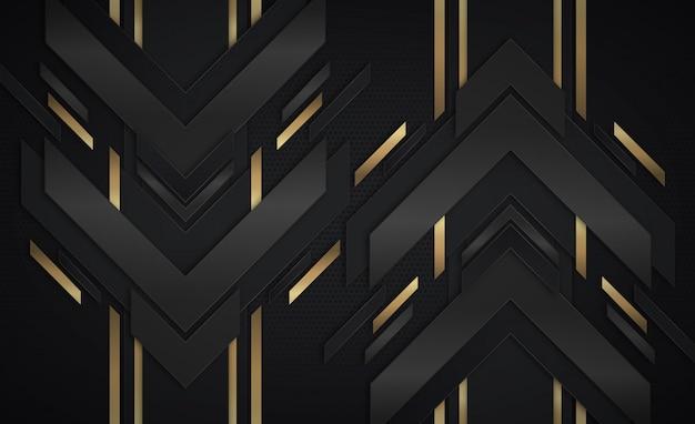 Sfondo astratto con frecce oro e nero scuro