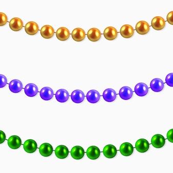 Sfondo astratto con ghirlande appese viola, oro, perline verdi