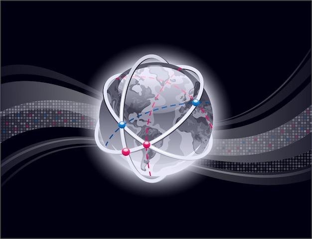 Sfondo astratto con il pianeta terra lucido. design con onde pixel. grafica in stile business 3d con globo terrestre. sfondo nero.