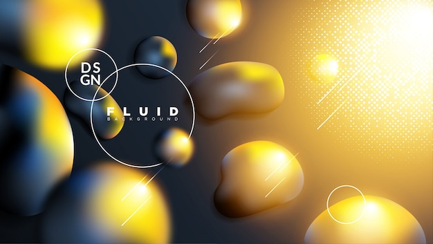Sfondo astratto con liquido scuro e effetto luce oro