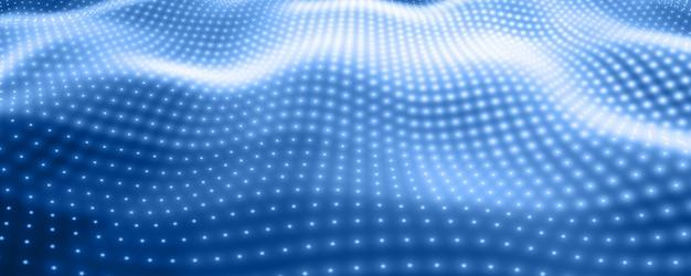 Sfondo astratto con luci al neon blu che formano la superficie ondulata.