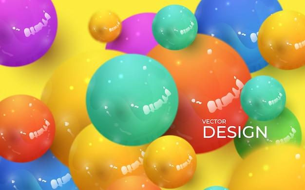 Sfondo astratto con sfere 3d dinamiche. bolle colorate pastello di plastica.