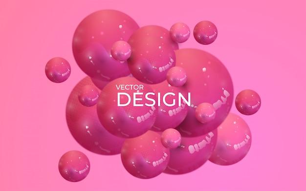 Sfondo astratto con sfere 3d dinamiche. bolle di plastica rosa pastello.