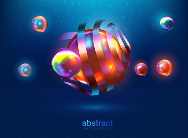 Sfondo astratto con sfere 3d dinamici