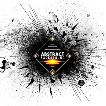 Sfondo astratto con spruzzi neri e linee radiali, effetto burst o esplosione creativo.
