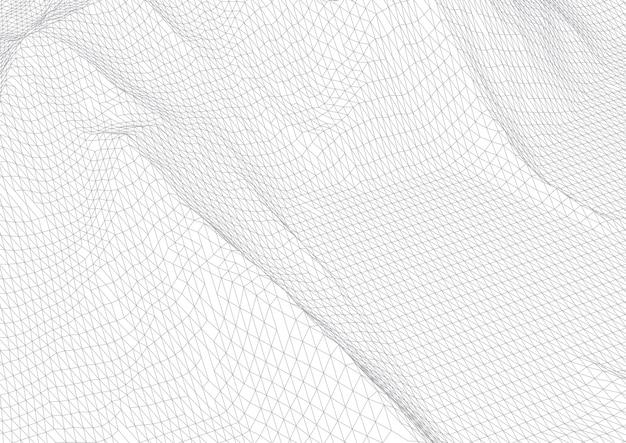 Sfondo astratto con terreno wireframe in bianco e nero