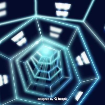 Sfondo astratto con tunnel di luce tecnologica