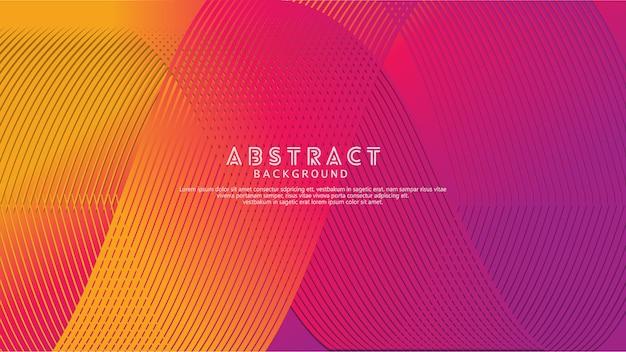Sfondo astratto con un ornamento colorato onde dinamiche, linee e particelle.