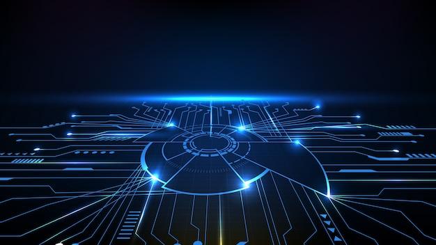 Sfondo astratto di futuristici chip del processore principale principale con linea di circuito