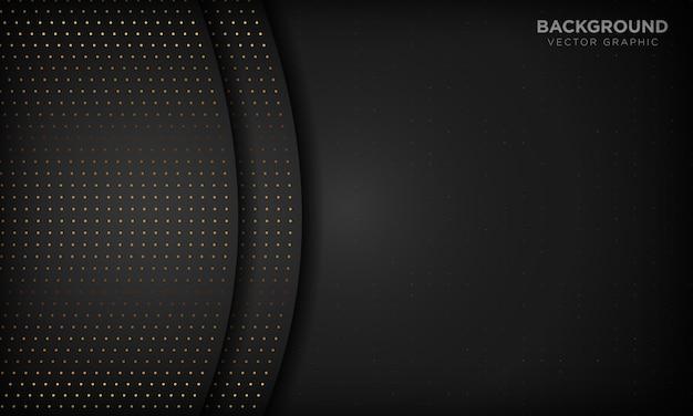 Sfondo astratto di lusso nero con strati di sovrapposizione. texture con glitter oro elemento punto.