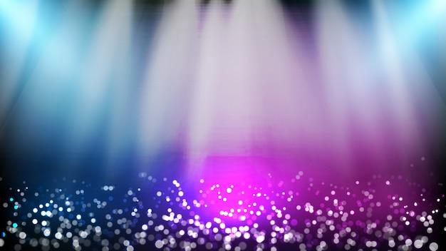 Sfondo astratto di particelle di polvere scintillante e illuminazione spotlgiht fase di sfondo