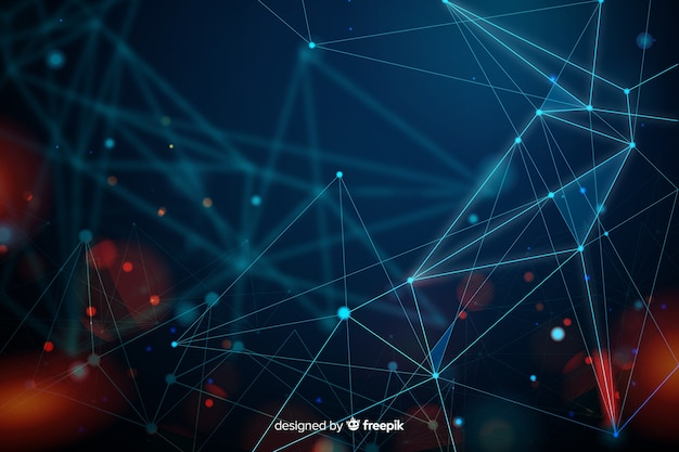 Sfondo astratto di particelle di tecnologia
