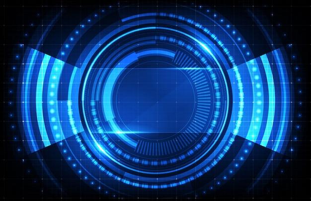 Sfondo astratto di sci fi hud ui con circuito stampato blu
