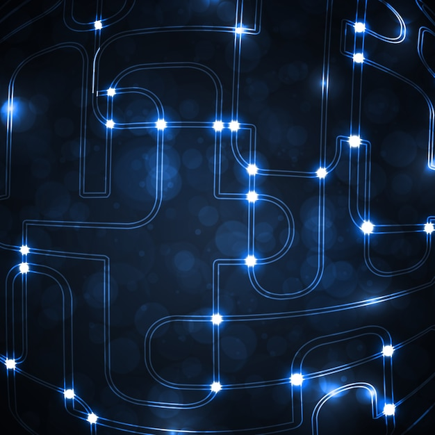 Sfondo astratto, forma di circuito stampato di palla, tecnologia
