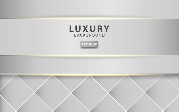 Sfondo astratto grigio argento moderno di lusso con linea dorata effetto luce realistico su sfondo quadrato grigio strutturato. modello digitale,.