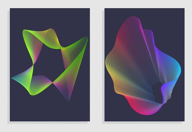 Sfondo astratto impostato con onde lineari gradiente astratte.