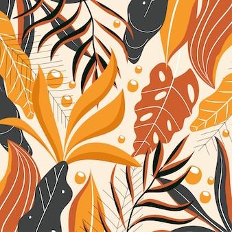 Sfondo astratto in colori caldi con foglie tropicali