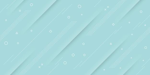 Sfondo astratto moderno con elementi di memphis e papercut e colori pastello blu a tema retrò per poster, banner e pagine di destinazione del sito web.